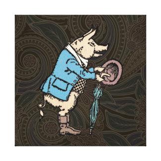 Vintage Pig Wearing Jacket Canvas Print