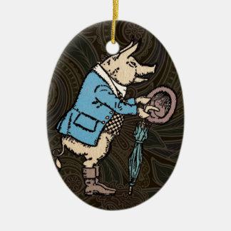 Vintage Pig Wearing Jacket Ceramic Ornament