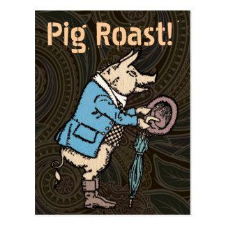 Vintage Pig Wearing Jacket Postcard