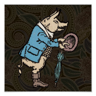 Vintage Pig Wearing Jacket Poster