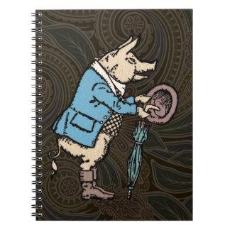 Vintage Pig Wearing Jacket Spiral Notebook