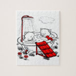 Vintage Piggies & Bird In Bath Puzzle