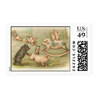 vintage piggies in play stamp