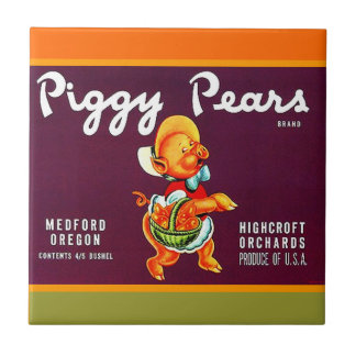 Vintage Piggy Pears Oregon Pear Can Label Pig Tile