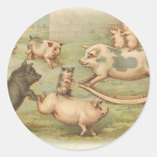 Vintage Piggy Picnic stickers