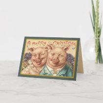 Vintage Pigs Christmas Card