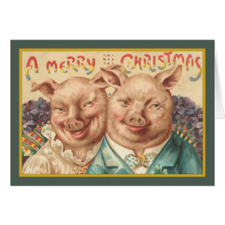 Vintage Pigs Christmas Card