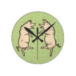 Vintage Pigs Dancing Clocks
