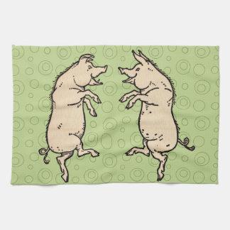Vintage Pigs Dancing Hand Towels