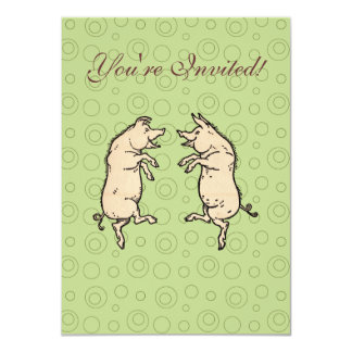Vintage Pigs Dancing 4.5x6.25 Paper Invitation Card