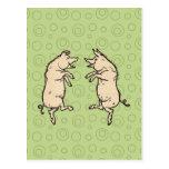 Vintage Pigs Dancing Post Card