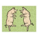 Vintage Pigs Dancing Post Cards