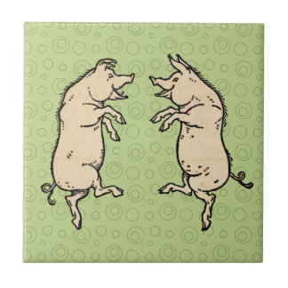 Vintage Pigs Dancing Small Square Tile