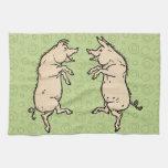 Vintage Pigs Dancing Towels