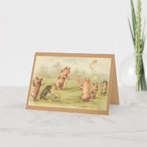 Vintage - Pigs Playing Card