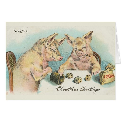 Vintage Pigs Playing Dice Greeting Card