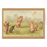 Vintage - Pigs Playing Greeting Card