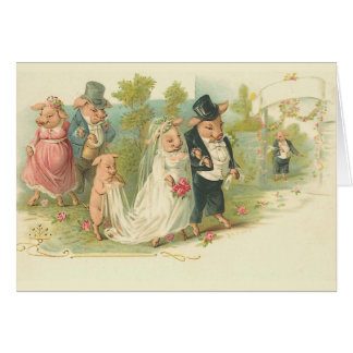 Vintage Pigs Wedding Card