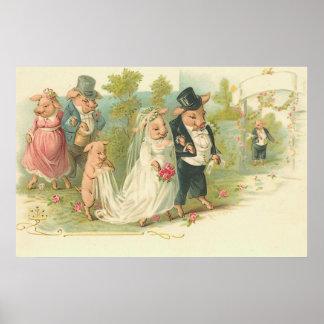 Vintage Pigs Wedding Poster