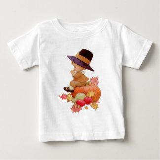 Vintage Pilgrim Boy Praying on Pumpkin Baby T-Shirt