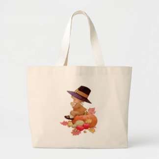 Vintage Pilgrim Boy Praying on Pumpkin Bags
