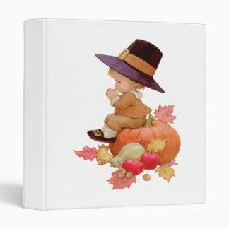 Vintage Pilgrim Boy Praying on Pumpkin Binder