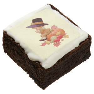 Vintage Pilgrim Boy Praying on Pumpkin Brownie by Sandyspider
