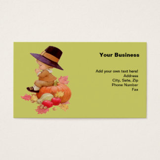 Vintage Pilgrim Boy Praying on Pumpkin Business Card