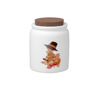 Vintage Pilgrim Boy Praying on Pumpkin Candy Jar by Sandyspider