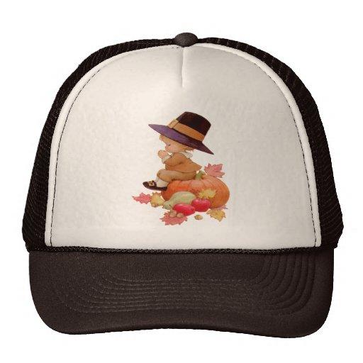 Vintage Pilgrim Boy Praying on Pumpkin Trucker Hat
