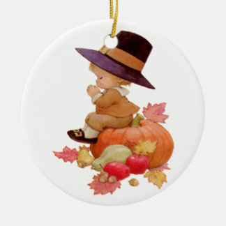 Vintage Pilgrim Boy Praying on Pumpkin Christmas Ornament