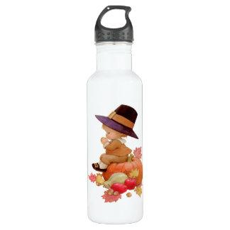 Vintage Pilgrim Boy Praying on Pumpkin 24oz Water Bottle