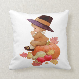 Vintage Pilgrim Boy Praying on Pumpkin Throw Pillow