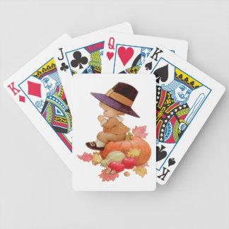 Vintage Pilgrim Boy Praying on Pumpkin Bicycle Playing Cards
