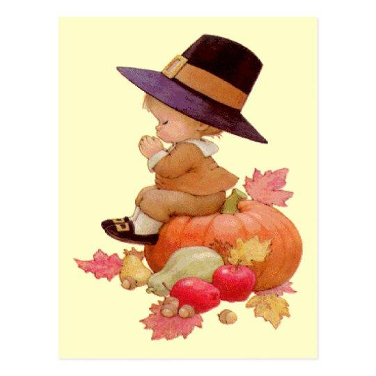 Vintage Pilgrim Boy Praying on Pumpkin Postcard