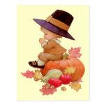 Vintage Pilgrim Boy Praying on Pumpkin Postcards