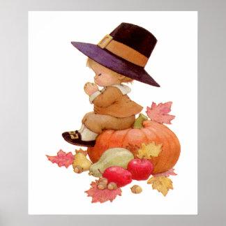 Vintage Pilgrim Boy Praying on Pumpkin Poster