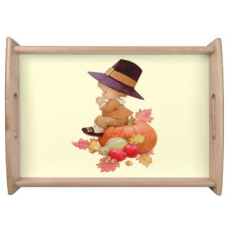 Vintage Pilgrim Boy Praying on Pumpkin Serving Tray by Sandyspider