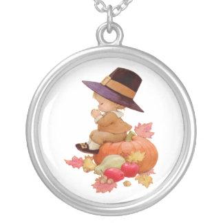 Vintage Pilgrim Boy Praying on Pumpkin Silver Plated Necklace