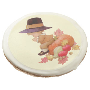 Vintage Pilgrim Boy Praying on Pumpkin Sugar Cookie by Sandyspider