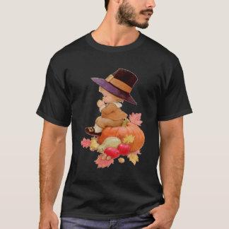 Vintage Pilgrim Boy Praying on Pumpkin T-Shirt