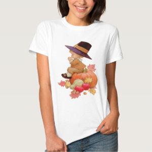 Vintage Pilgrim Boy Praying on Pumpkin T-shirts