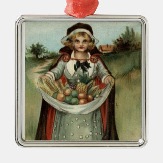 Vintage Pilgrim Lady Thanksgiving Holiday Ornament
