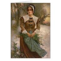Vintage Pilgrim Woman Greeting Cards