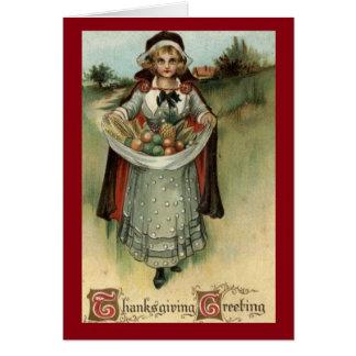 Vintage Pilgrim Woman Thanksgiving Greeting Card