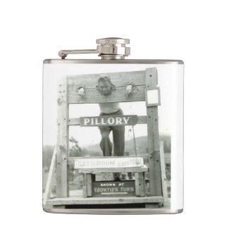 Vintage Pillory Photograph Man c 1940s Flask
