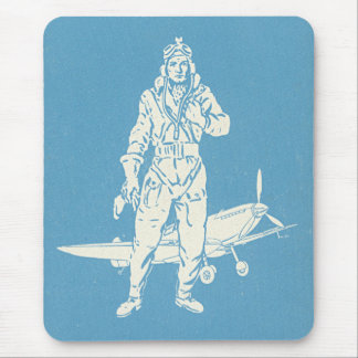 Vintage Pilot and Airplane Art Mouse Pad