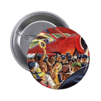Vintage Pilot, Woman and Airplane with Paparazzi 2 Inch Round Button