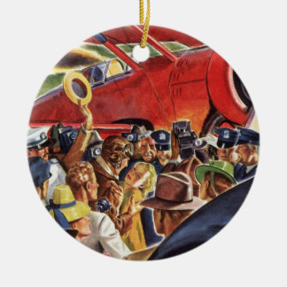 Vintage Pilot, Woman and Airplane with Paparazzi Ceramic Ornament