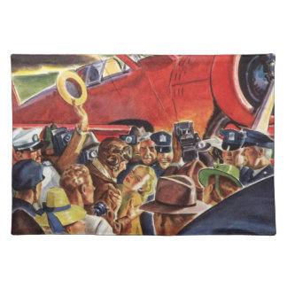 Vintage Pilot, Woman and Airplane with Paparazzi Cloth Placemat